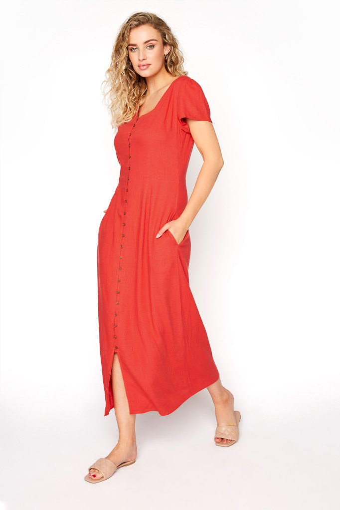 Tall Red Linen Button Front Midi Dress